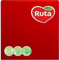 Серветки паперові RUTA Колор, 3 шари, 20 шт, червоні