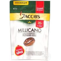 Кофе растворимый JacobsMonarch Милликан экон пакет, 20г