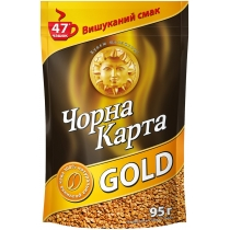 Кава розчинна Чорна карта Gold сублім. Пакет, 95г