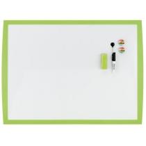 Магнітно-маркерна дошка 430X585 мм, білого кольору, в пласт. рамці  салатового кольору