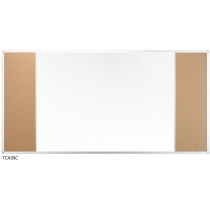Доска настенная три секции с комбинированой поверхностью маркер/пробка 170 x 100 см
