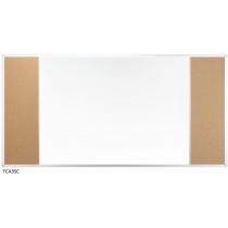 Доска настенная три секции с комбинированой поверхностью маркер/пробка 120 x 90 см