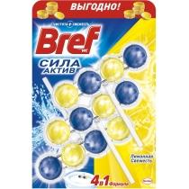 Средство для ухода за унитазами Bref сила актив Лимонная свежесть Триопак 3 Х 50 гр
