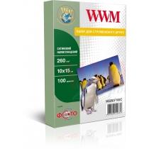 Фотобумага WWM 10x15см, 260г/м2, сатиновая , 100 л.