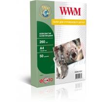 Фотобумага WWM A4, 260г/м2, шелковистая полуглянцевая, 50 л.