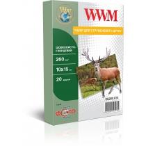 Фотобумага WWM 10x15см, 260г/м2, шелковисто-глянцевая, 20 л.