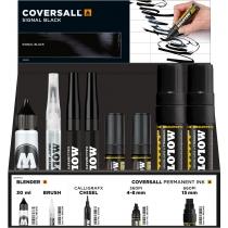 Набор  флуоресцентний (2 маркера COVERSALL™+ маркер-кисть Calligraf-X 2mm+ GRAFX Blender), 33 шт.