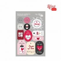 """Висічки для скрапбукінгу, самоклеючі """"Love"""" 2, картон, 12,8х20см, ROSA TALENT"""