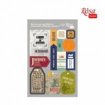 """Высечки для скрапбукинга, самоклеящиеся """"Make your journey"""" 1, картон, 12,8х20см, ROSA TALENT"""