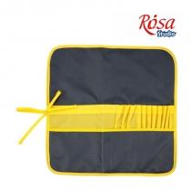Пенал для кистей, ткань (37х37см), асфальт + желтый, ROSA Studio