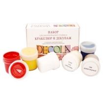 Набор акриловых красок для декора, глянцевый,  4*20 мл + кракелюрный лак + клей для декупажа, Deсola