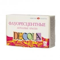 Набор акриловых красок для декора, флуоресцентный, 6*20мл, Decola