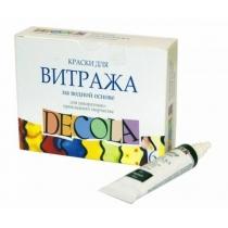 Набор витражных красок на водной основе, 6 цв. * 20 мл, Decola