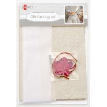 Набор для упаковки подарка, 40*55см, 2шт/уп., бело-золотой