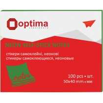 Стикеры Optima, 40х50, зеленые неон, 100 л.