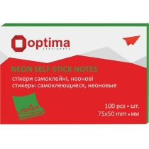 Стикеры Optima, 75х50, зеленые неон, 100 л.