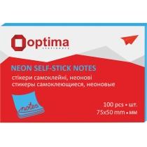 Стикеры Optima, 75х50, синие неон, 100 л.
