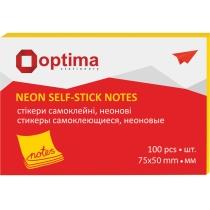 Стикеры Optima, 75х50, желтые неон , 100 л.