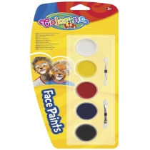 Краски для лица, 5 цветов, с двумя кисточками