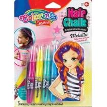 Металлизированный мел для волос в форме карандашей с расческой, 5 цветов