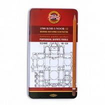 Набор карандашей чернографитных KOH-I-NOOR TECHNIC HB-10H 12 шт. в мет пенале