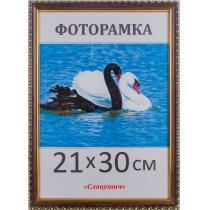 Фоторамка А4, 21*30, коричневая с золотом