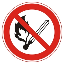"""Знак запрещающий """"Запрещается пользоваться открытым огнем"""" (диам. 150 мм, самоклейка)"""