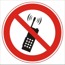 """Знак запрещающий """"Запрещается пользоваться мобильным телефоном"""" (диам. 150 мм, самоклейка)"""