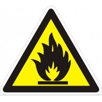 """Знак попереджуючий """"Обережно! Легкозаймисті речовини."""" (ст. тр. 130 мм, самоклейка)"""