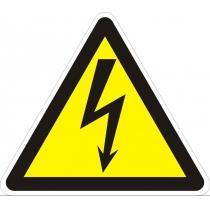 """Знак предупреждающий """"Осторожно! Электрическое напряжение"""" (ст. тр. 130 мм, самоклейка)"""