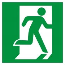 """Знак евакуаційний """"Вихід тут"""" (правосторонній, розмір 150х150 мм, самоклейка)"""