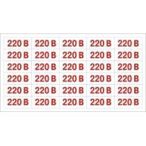 """Обозначение напряжения """"220 В"""" (размер 35х15 мм, 30 шт / лист, прозрачная основа, самоклейка)"""