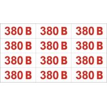 """Обозначение напряжения """"380 В"""" (размер 60х25 мм, 12 шт / лист, самоклейка)"""