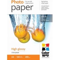 Фотопапір Color Way A4, глянцевий, 200г/м,  100 л.