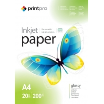 Фотопапір PrintPro A4, глянцевий, 200г/м, 20 л.