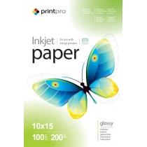 Фотобумага PrintPro 10x15см, глянцевая, 200г/м, 100 л.