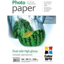 Фотобумага Color Way A4, глянцевая двустор., 220г/м,  50 л.