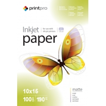 Фотобумага PrintPro 10x15см, матовая, 190г/м, 100 л.