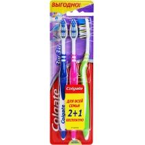 Набір зубних щіток Colgate 2+1 Zig-Zag Плюс середньої жорсткості