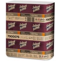 Полотенца бумажные 2 слоя SELPAK Extra ZZ-сложения 200 листов в упаковке, белые