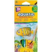 """Карандаши цветные акварельные """"Aquatic Extra Soft"""", 12 цветов, с кистью"""
