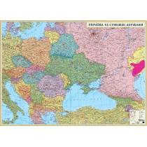 Политическая карта Украины и соседних государств 215х158 см