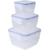 Набір контейнерів із затиском квадратний  3 в 1