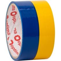 Лента клейкая упаковочная 48 мм х 20 м Optima, желто-голубая