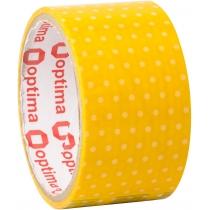 Лента клейкая упаковочная 48 мм х 20 м Optima, Dots желтый