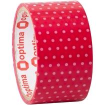 Лента клейкая упаковочная 48 мм х 20 м Optima, Dots розовый