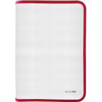 Папка-пенал пластиковая на молнии Economix А4, прозрачная, фактура: ткань, молния красная