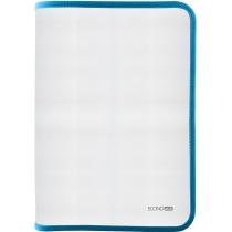 Папка-пенал пластиковая на молнии Economix А4, прозрачная, фактура: ткань, молния голубая