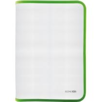 Папка-пенал пластиковая на молнии Economix А4, прозрачная, фактура: ткань, молния салатовая