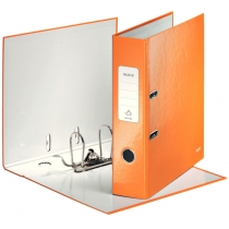 Папка-регистратор Leitz WOW с механизмом 180°, А4 80мм, оранжевый металлик